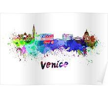Venice skyline in watercolor Poster