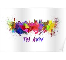Tel Aviv skyline in watercolor Poster
