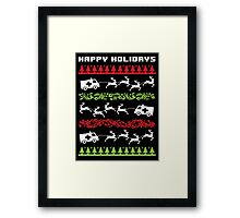 Funny 'Santa Reindeer Pulling Ambulance' Happy Holiday EMT/Paramedic T-Shirt and Accessories Framed Print