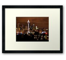 THE BEAUTIFUL SEATTLE SKYLIGHT AT NIGHT Framed Print