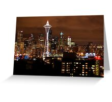 THE BEAUTIFUL SEATTLE SKYLIGHT AT NIGHT Greeting Card