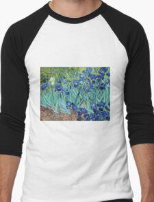 Famous art, Iris,  by Vincent van Gogh. Vintage impressionism floral oil painting. Men's Baseball ¾ T-Shirt