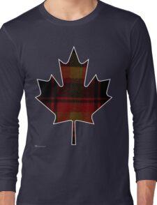 Canada's National Tartan in Maple Leaf  Long Sleeve T-Shirt