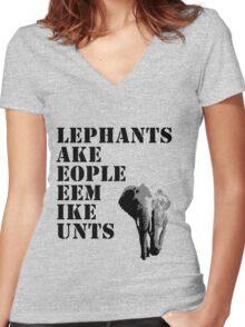 Elephants make people seem... Women's Fitted V-Neck T-Shirt