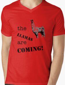 The llamas are coming! Mens V-Neck T-Shirt
