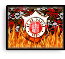 FC ST Pauli Flame and Skull Shield Design Canvas Print