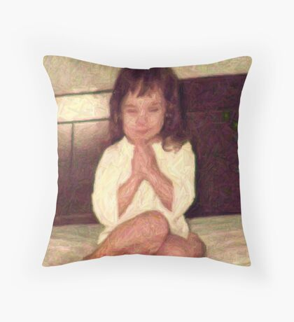 old picture in colored pencil Throw Pillow