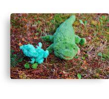 Gator McBumpypants and Herman the baby Pterodactyl Canvas Print