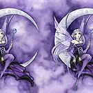 Purple Gothic anime fairy on a Moon mug by meredithdillman