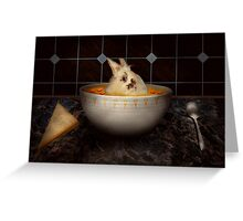 Animal - Bunny - There's a hare in my soup Greeting Card