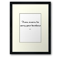Skyrim - Sworn to carry your burdens Framed Print