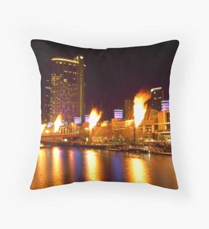 Melbourne South Bank Flames Throw Pillow