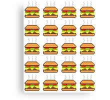 Pixel Cheeseburger Pattern Canvas Print