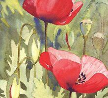 3 Poppies by Val Spayne