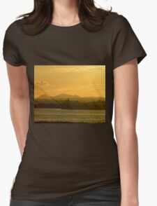 Twilight over Derryveagh mountains - with O'Doherty Castle from Inch Level Womens Fitted T-Shirt