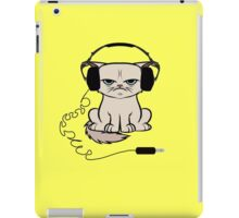 Grumpy Looking Cat With Headphones iPad Case/Skin