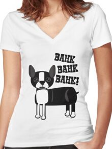 Boston Accent Terrier Women's Fitted V-Neck T-Shirt