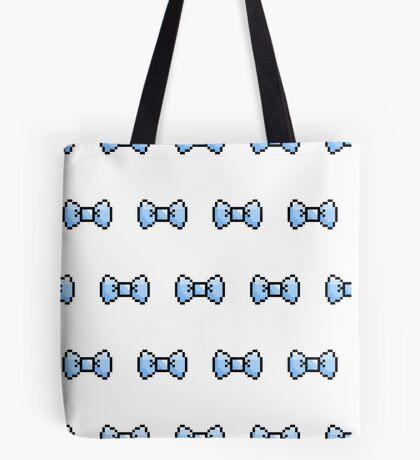 Pixel Ribbon Bow Pattern (blue) Tote Bag