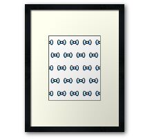 Pixel Ribbon Bow Pattern (blue) Framed Print