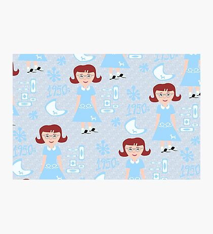 Cute 50's Girl Pattern Photographic Print