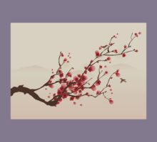 Whimsical Red Cherry Blossom Tree Kids Clothes