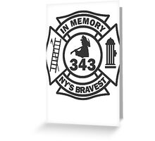 In Memory of NY 343 style BLK Greeting Card