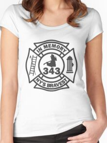 In Memory of NY 343 style BLK Women's Fitted Scoop T-Shirt