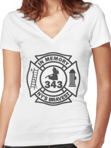 In Memory of NY 343 style BLK Women's Fitted V-Neck T-Shirt