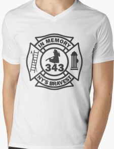 In Memory of NY 343 style BLK Mens V-Neck T-Shirt
