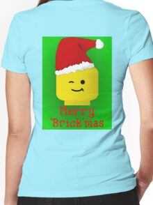 Merry Christmas Santa Minifig by Customize My Minifig Women's Fitted V-Neck T-Shirt