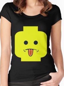 Rude Minifig Face Sticking Tongue Out  Women's Fitted Scoop T-Shirt