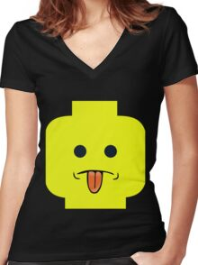 Rude Minifig Face Sticking Tongue Out  Women's Fitted V-Neck T-Shirt