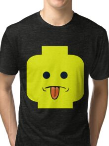 Rude Minifig Face Sticking Tongue Out  Tri-blend T-Shirt