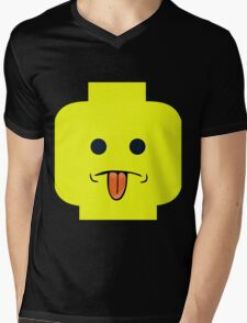 Rude Minifig Face Sticking Tongue Out  Mens V-Neck T-Shirt