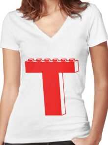 THE LETTER T by Customize My Minifig Women's Fitted V-Neck T-Shirt
