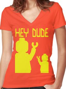 Minifig Hey Dude Women's Fitted V-Neck T-Shirt