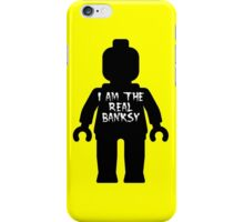"""Black Minifig with """"I am the Real Banksy"""" slogan by Customize My Minifig iPhone Case/Skin"""