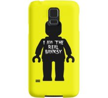 "Black Minifig with ""I am the Real Banksy"" slogan by Customize My Minifig Samsung Galaxy Case/Skin"