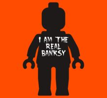 "Black Minifig with ""I am the Real Banksy"" slogan by Customize My Minifig Kids Tee"
