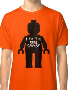 "Black Minifig with ""I am the Real Banksy"" slogan by Customize My Minifig Classic T-Shirt"