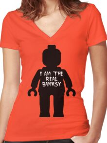 """Black Minifig with """"I am the Real Banksy"""" slogan by Customize My Minifig Women's Fitted V-Neck T-Shirt"""