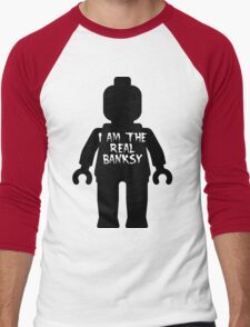 """Black Minifig with """"I am the Real Banksy"""" slogan by Customize My Minifig Men's Baseball ¾ T-Shirt"""
