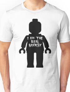 "Black Minifig with ""I am the Real Banksy"" slogan by Customize My Minifig Unisex T-Shirt"
