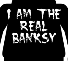 """Black Minifig with """"I am the Real Banksy"""" slogan by Customize My Minifig Sticker"""