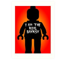 "Black Minifig with ""I am the Real Banksy"" slogan by Customize My Minifig Art Print"