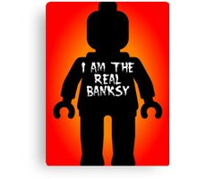 "Black Minifig with ""I am the Real Banksy"" slogan by Customize My Minifig Canvas Print"