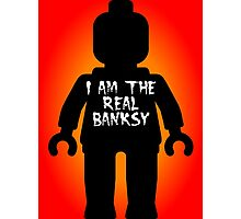 "Black Minifig with ""I am the Real Banksy"" slogan by Customize My Minifig Photographic Print"