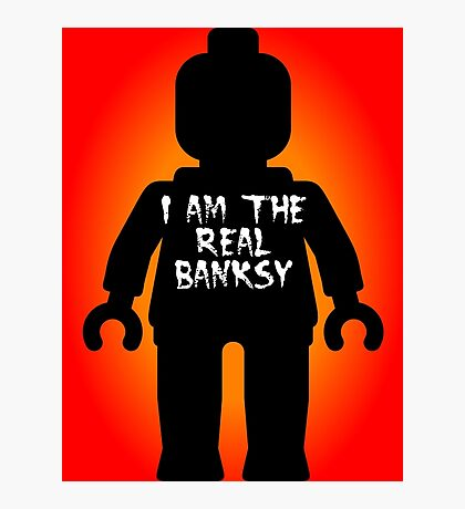 """Black Minifig with """"I am the Real Banksy"""" slogan by Customize My Minifig Photographic Print"""
