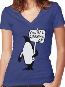 Global Warning Women's Fitted V-Neck T-Shirt