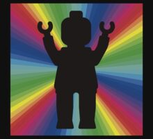 Black Minifig in front of Rainbow One Piece - Long Sleeve